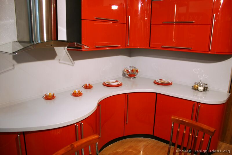 Kitchen Cabinet Planning Pictures Of Kitchens - Modern - Red Kitchen Cabinets