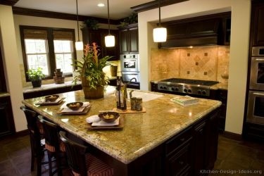 kitchen gourmet designs cabinets dark wood granite kitchens brown traditional colorful countertops gold golden espresso luxury island remodeling countertop awesome