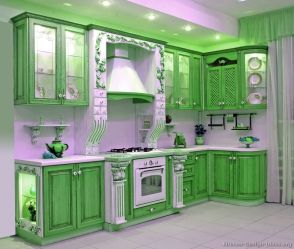 kitchen cabinets kitchens traditional tone cabinet wood bright interior hood colors paint painted decor decorating idea emerald colorful tt68 tile