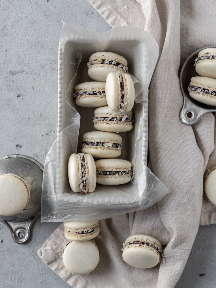 Looking down on a bunch of almond joy macarons