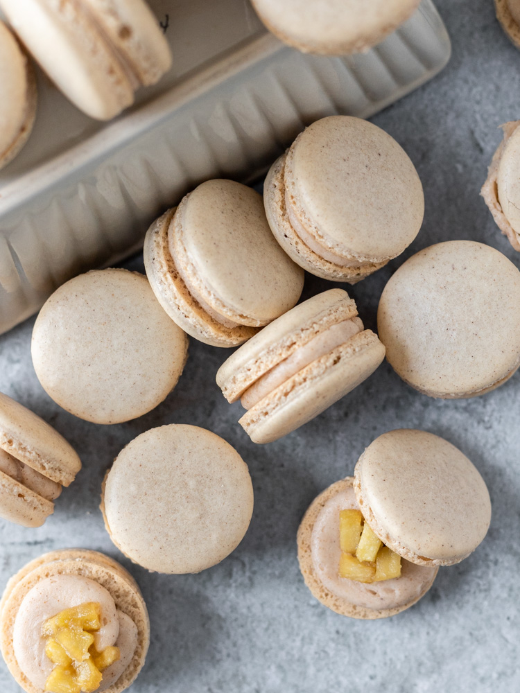 A stack of apple pie macarons
