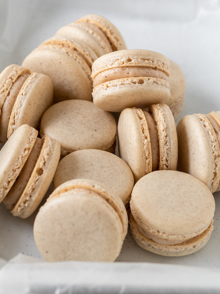 Looking down at a pile of french macarons