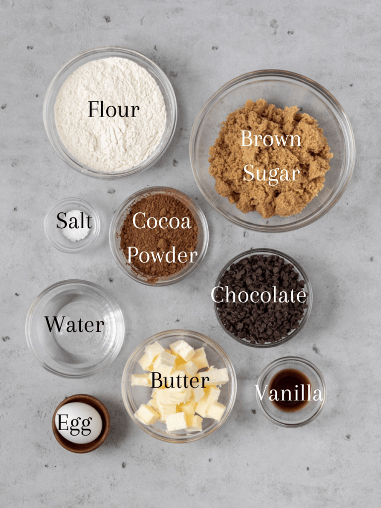 All of the ingredients for the best chocolate brownie pie