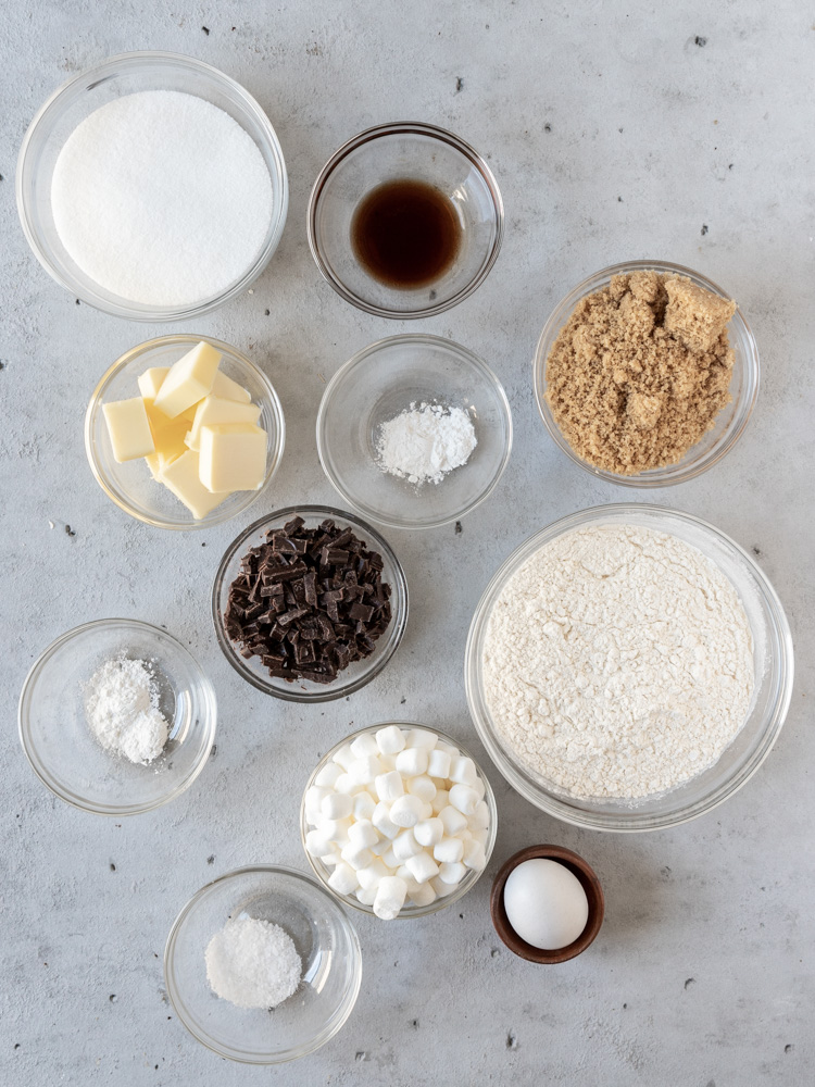 All of the ingredients needed for the cookie dough
