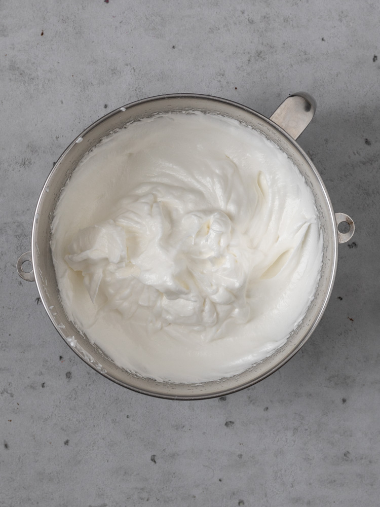 The meringue topping in a bowl