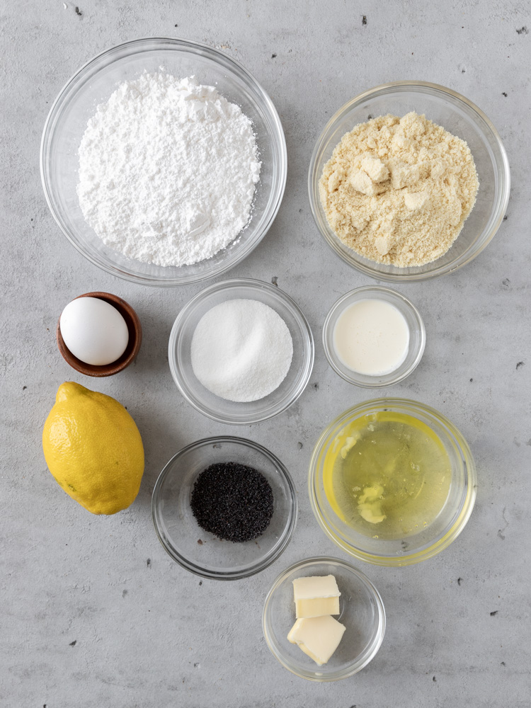 All of the ingredients for french macarons