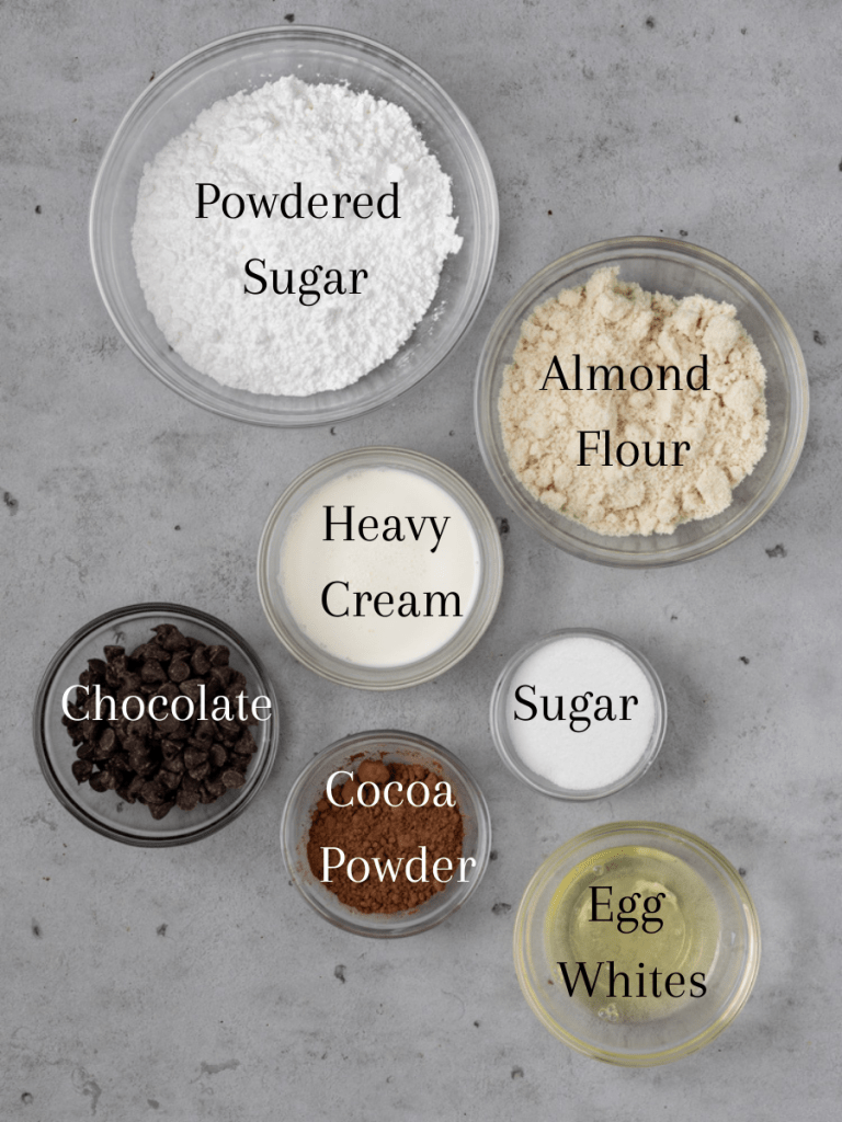 All of the ingredients needed for this macaron recipe