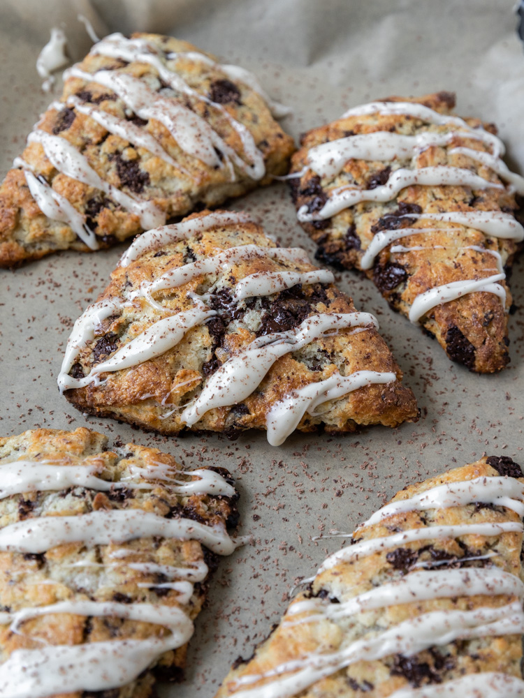 A pan of chocolate chip scones
