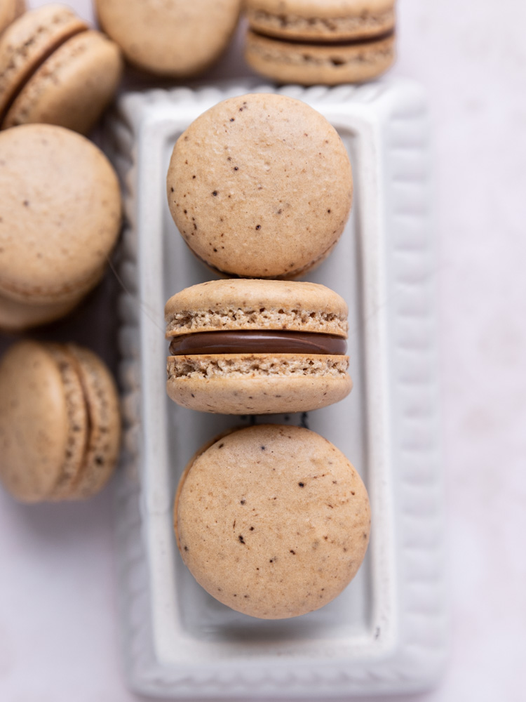 Looking down on a pile of french macarons