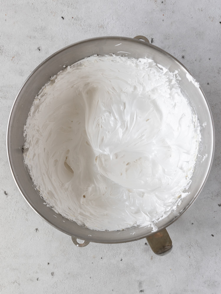 The marshmallow icing in a bowl