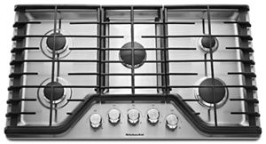 kitchen aid gas cooktop flooring ideas stainless steel 36 5 burner kcgs556ess kitchenaid electronic ignition