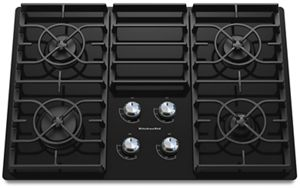 kitchen aid cooktop amish cabinets black 30 inch 4 burner gas architect series ii kgcc506rbl kitchenaid