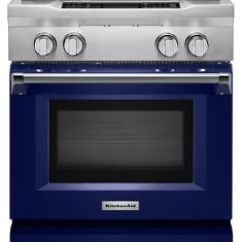 Kitchen Aid Gas Cooktop Wall Clocks Cobalt Blue 30 4 Burner Dual Fuel Freestanding Range Commercial Style Kdrs407vbu Kitchenaid