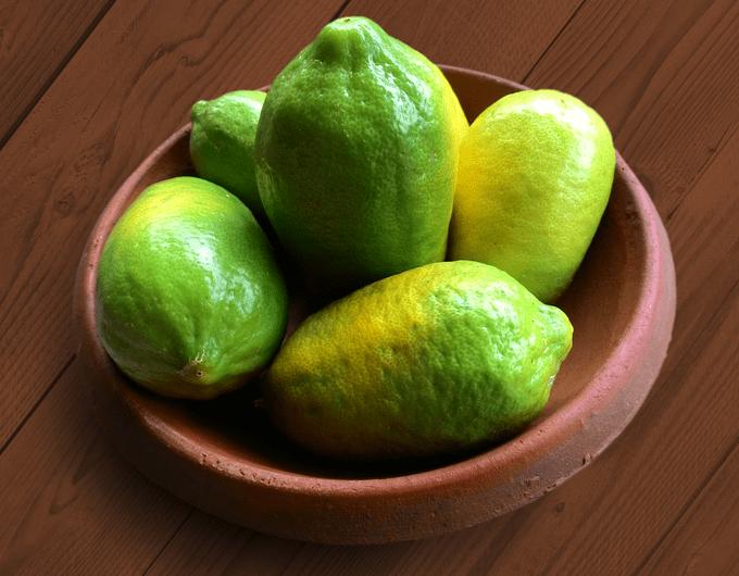 Homegrown green lemons