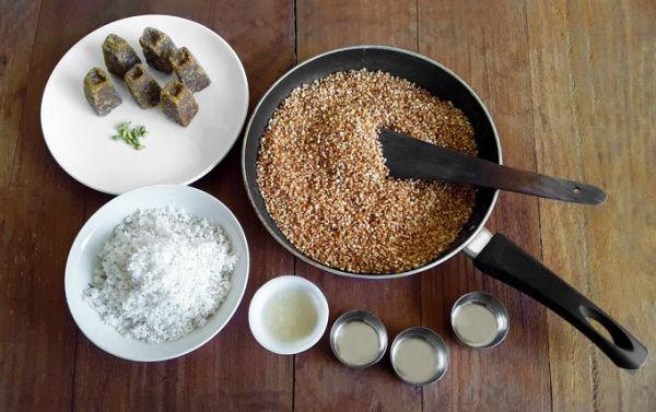 Ingredients for Indori - A traditional Konkani dessert.