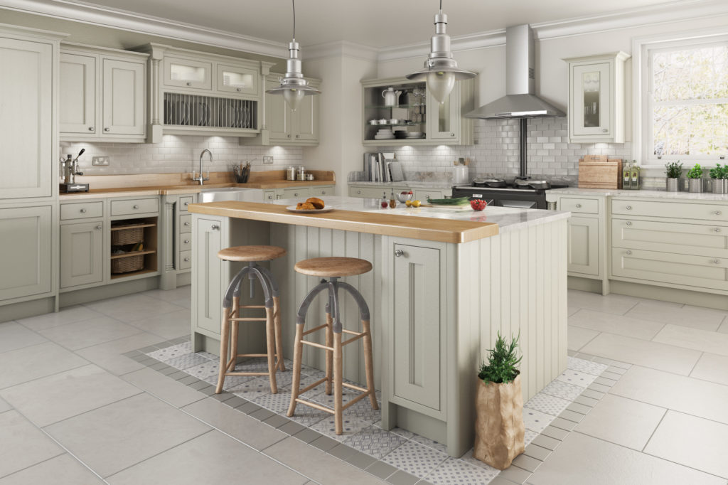 Traditional in frame kitchen design  painted kitchens