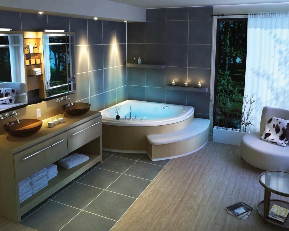 Beautiful and serene master bathroom design with attached lounging/sitting area