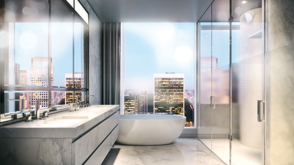 Penthouse-style bathroom with stand-alone European bathtub, marble floors and vanity, walk-in shower, and extra large mirrors.