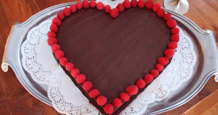 Chocolate Heart Cake with Ganache