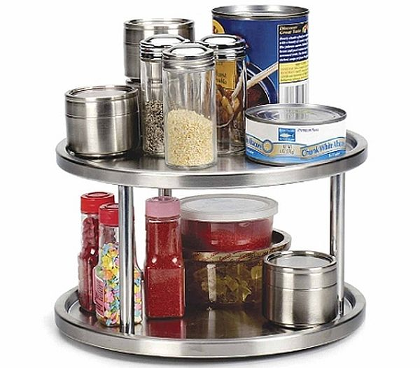 Turntables are best to store small kitchen items like spices