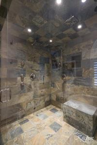 Large Bathroom Remodel with Classic Tub and Stone Tiled ...