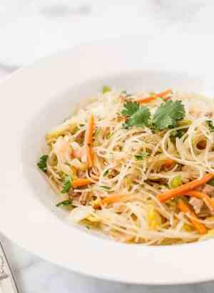 Pancit Bihon - Filipino Rice Noodles in a bowl.