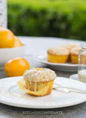 Meyer Lemon Ricotta Muffins | Kitchen Confidante | Glazed