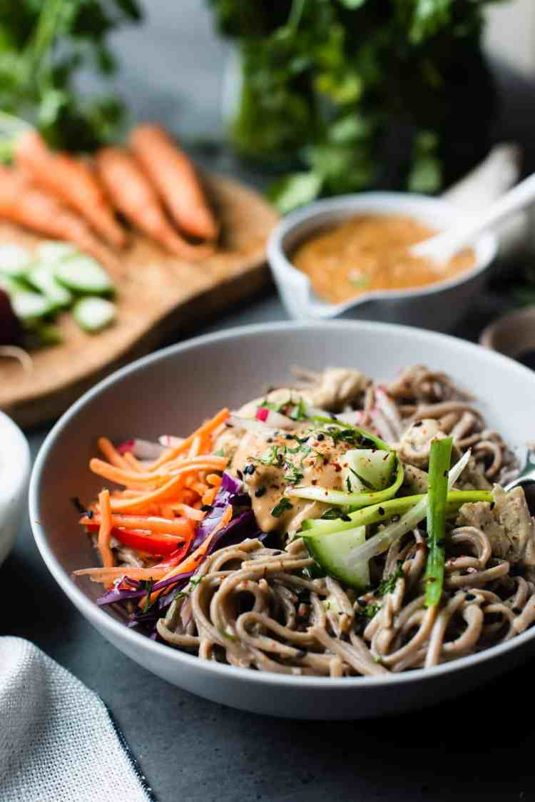 Soba Noodles & Chicken with Spicy Peanut Sauce - Bowl of peanut sauce noodles.