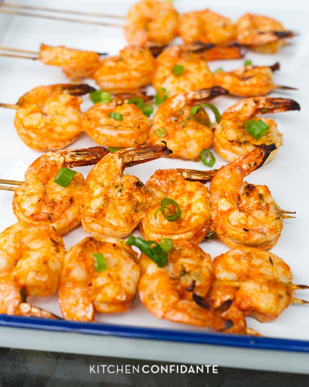 Thai-Curry Marinated Grilled Shrimp | www.kitchenconfidante.com | Grilled