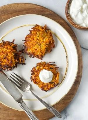 Sweet Potato, Turnip and Parsnip Latkes | www.kitchenconfidante.com