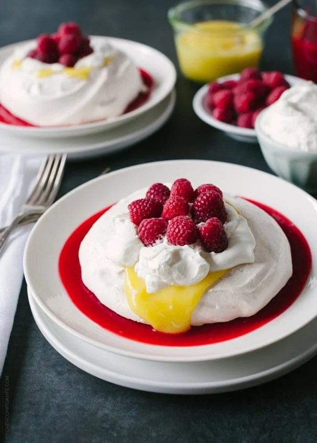 Meyer Lemon and Raspberry Pavlova | www.kitchenconfidante.com