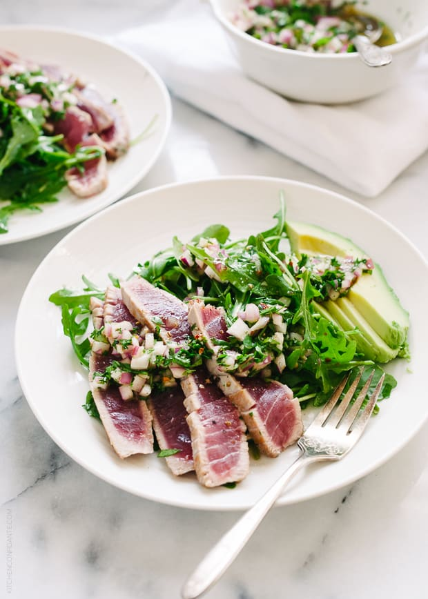 Seared Ahi Tuna with Chimichurri Sauce | www.kitchenconfidante.com