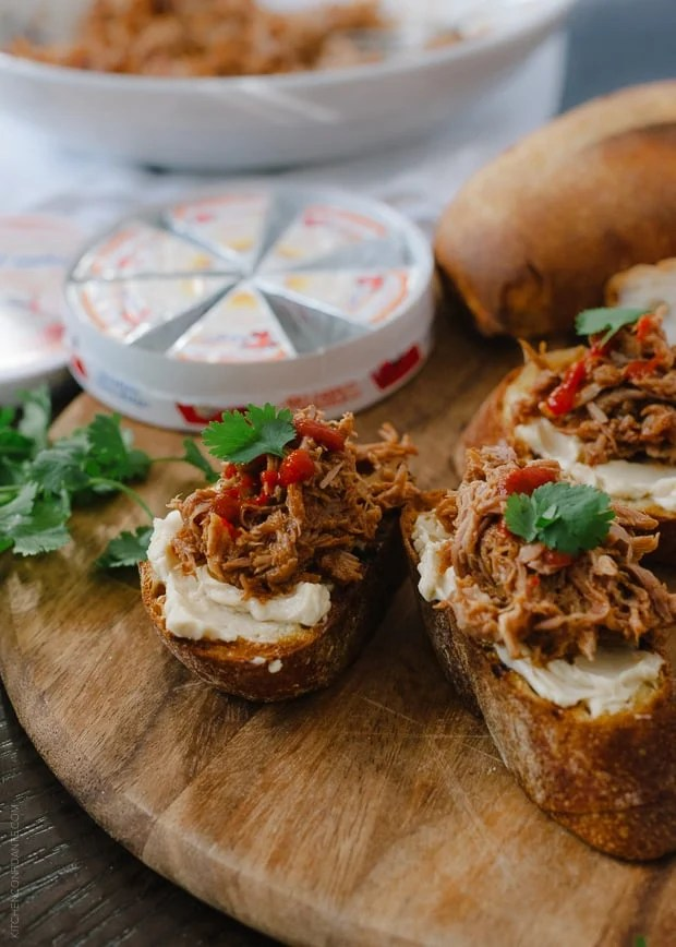 Chipotle Pulled Pork Bruschetta with Queso Fresco | www.kitchenconfidante.com | A hearty appetizer with zesty kick!