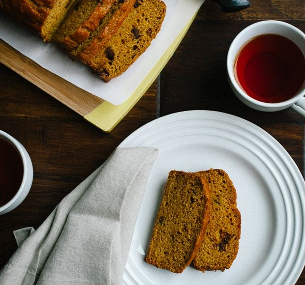 Chocolate Chip Pumpkin Bread | www.kitchenconfidante.com | Stay in and stay cozy with a slice.