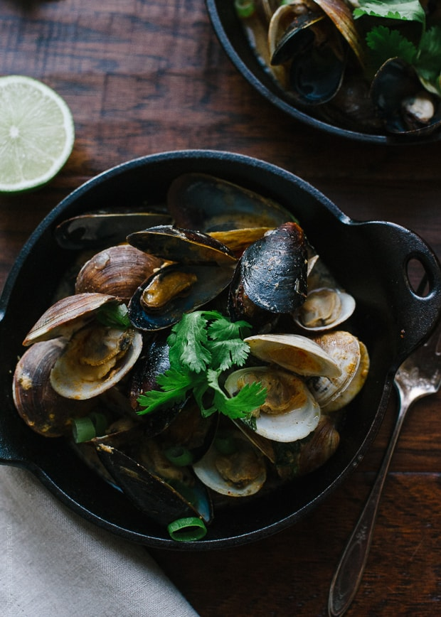 Steamed Clams and Mussels in Coconut Curry Broth | www.kitchenconfidante.com | Fragrant Thai-style broth infuses clams and mussels with delicious flavor.