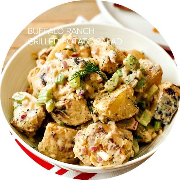 Buffalo Ranch Grilled Potato Salad  www.kitchenconfidante.com
