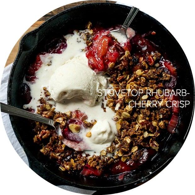 Stovetop Rhubarb-Cherry Crisp | www.kitchenconfidante.com