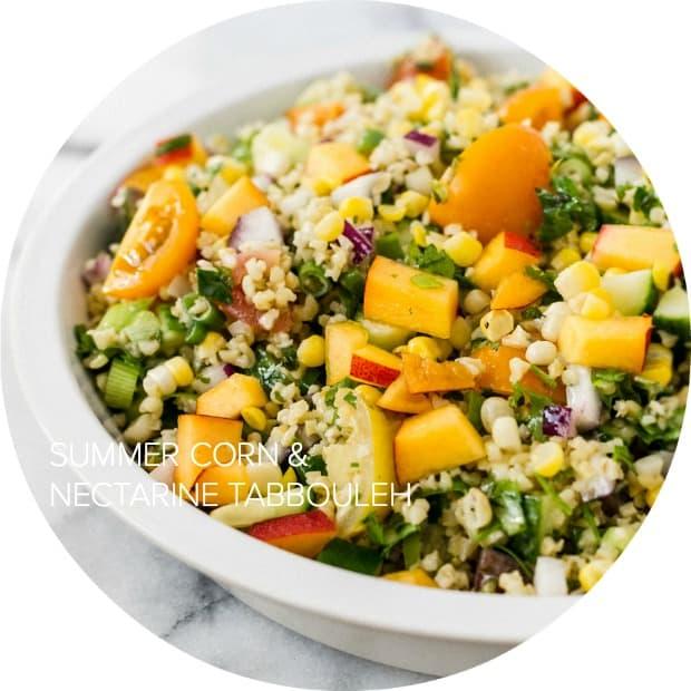 Summer Corn and Nectarine Tabbouleh | www.kitchenconfidante.com