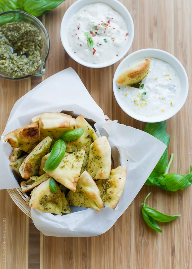 Pesto Baked Naan Chips | www.kitchenconfidante.com | Better than fried! You'll love these flavorful baked chips!