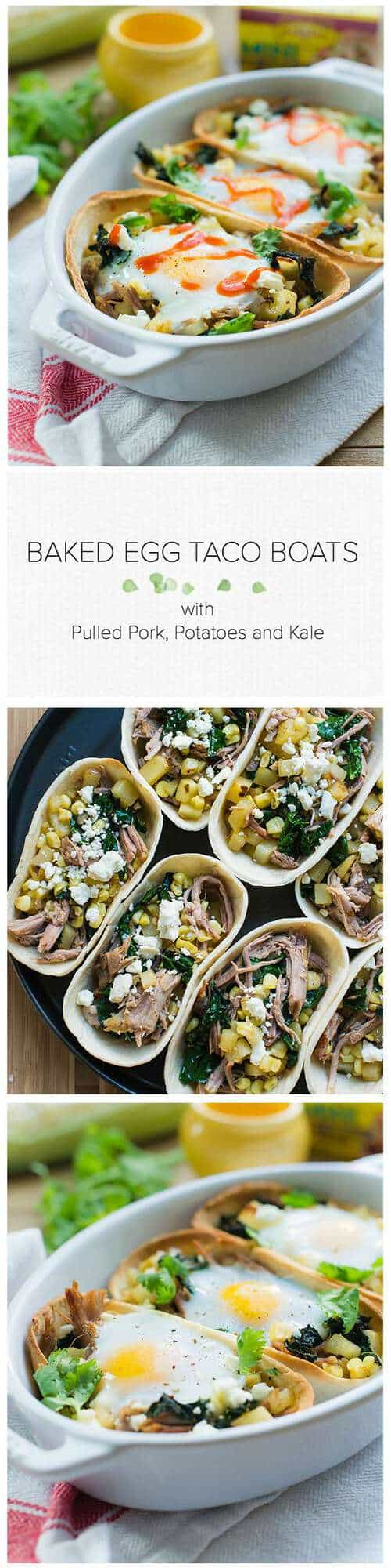Baked Egg Taco Boats with Pulled Pork, Potatoes and Kale  www.kitchenconfidante.com | Taco night just got more fun! These wholesome taco boats are a weeknight meal the whole family will love. #oldelpaso