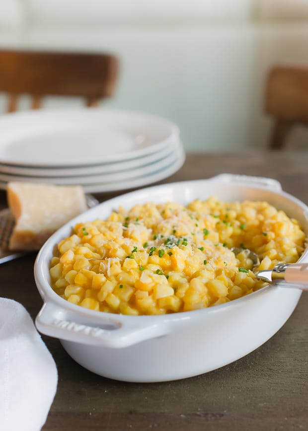Butternut Squash Creamed Corn is inspired by fall! This light and creamy recipe is better for you, thanks to butternut squash.