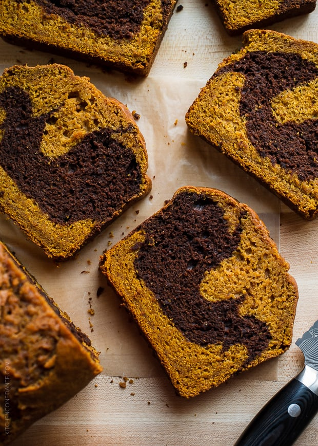 Warm slices of Chocolate Marble Pumpkin Bread need just one thing: a glass of milk.