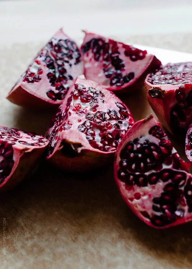 Pomegranates are beautiful gems and delicious in a Quinoa Salad with Roasted Red Beets, Oranges and Pomegranate.
