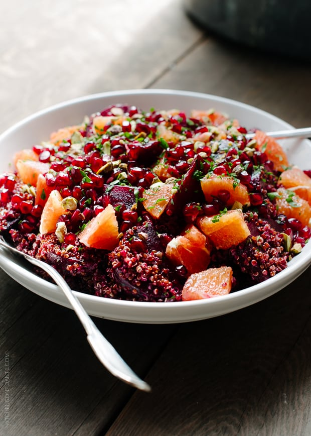 Quinoa Salad with Roasted Red Beets, Oranges and Pomegranate is a winter celebration in a bowl!