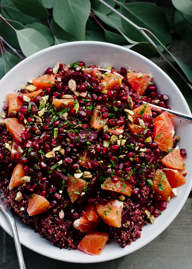 Quinoa Salad with Roasted Red Beets, Oranges and Pomegranate is a stunning salad, fit for celebrating.