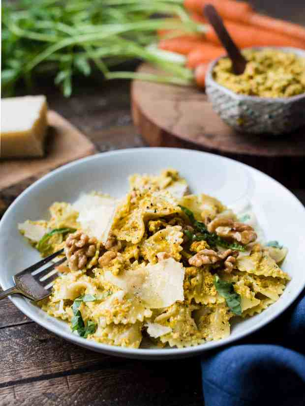 Pesto lovers, have you ever tried carrot pesto? You'll love this fun twist in this easy recipe for Farfalle with Roasted Carrot Pesto, Parmesan and Toasted Walnuts!
