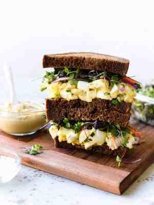 Hummus and Tahini Egg Salad sandwich.
