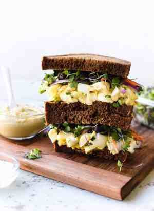 Hummus and Tahini Egg Salad sandwich.