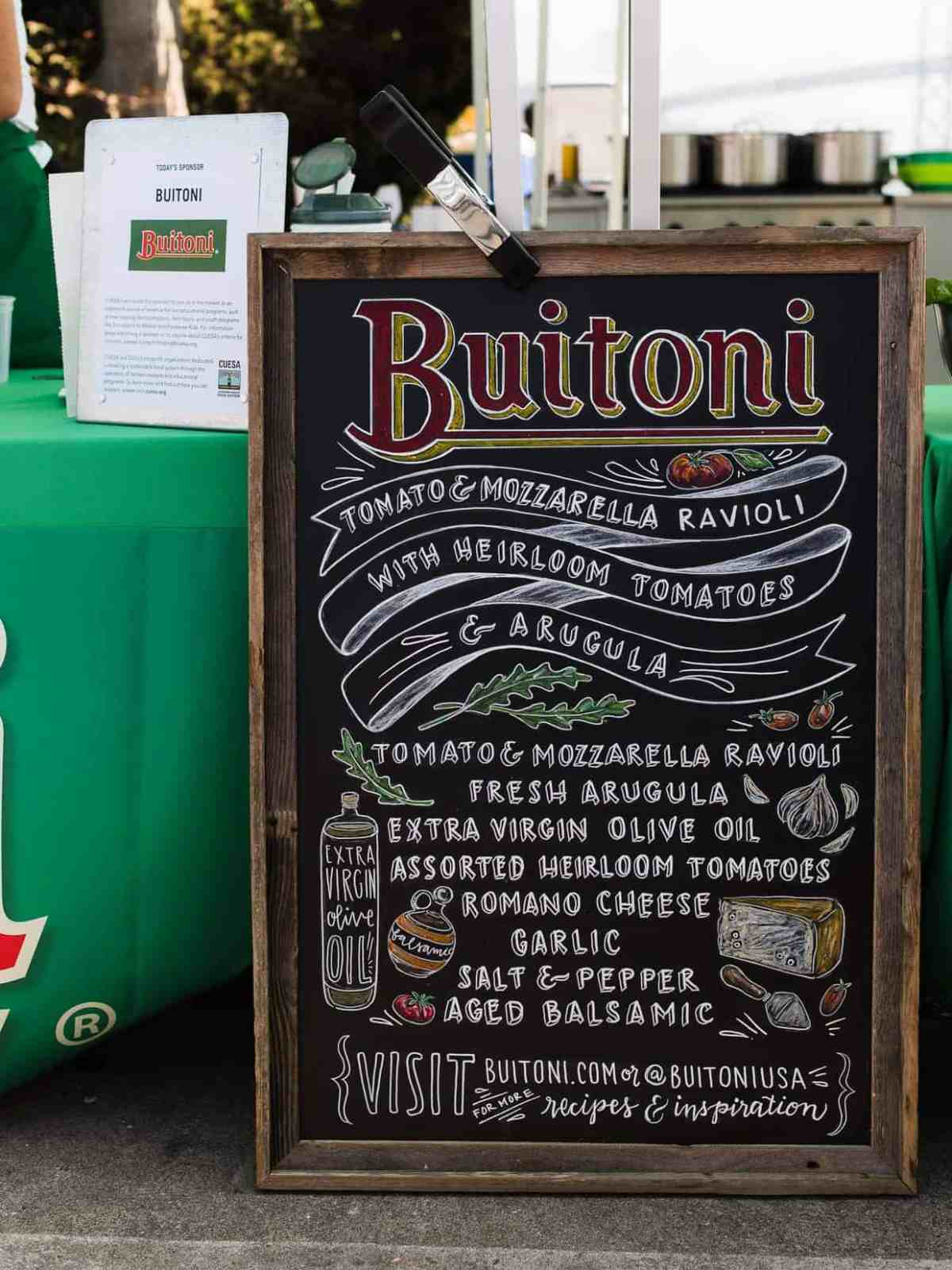 Ingredients for Buitoni recipe demo at Ferry Building Farmer's Market in San Francisco.