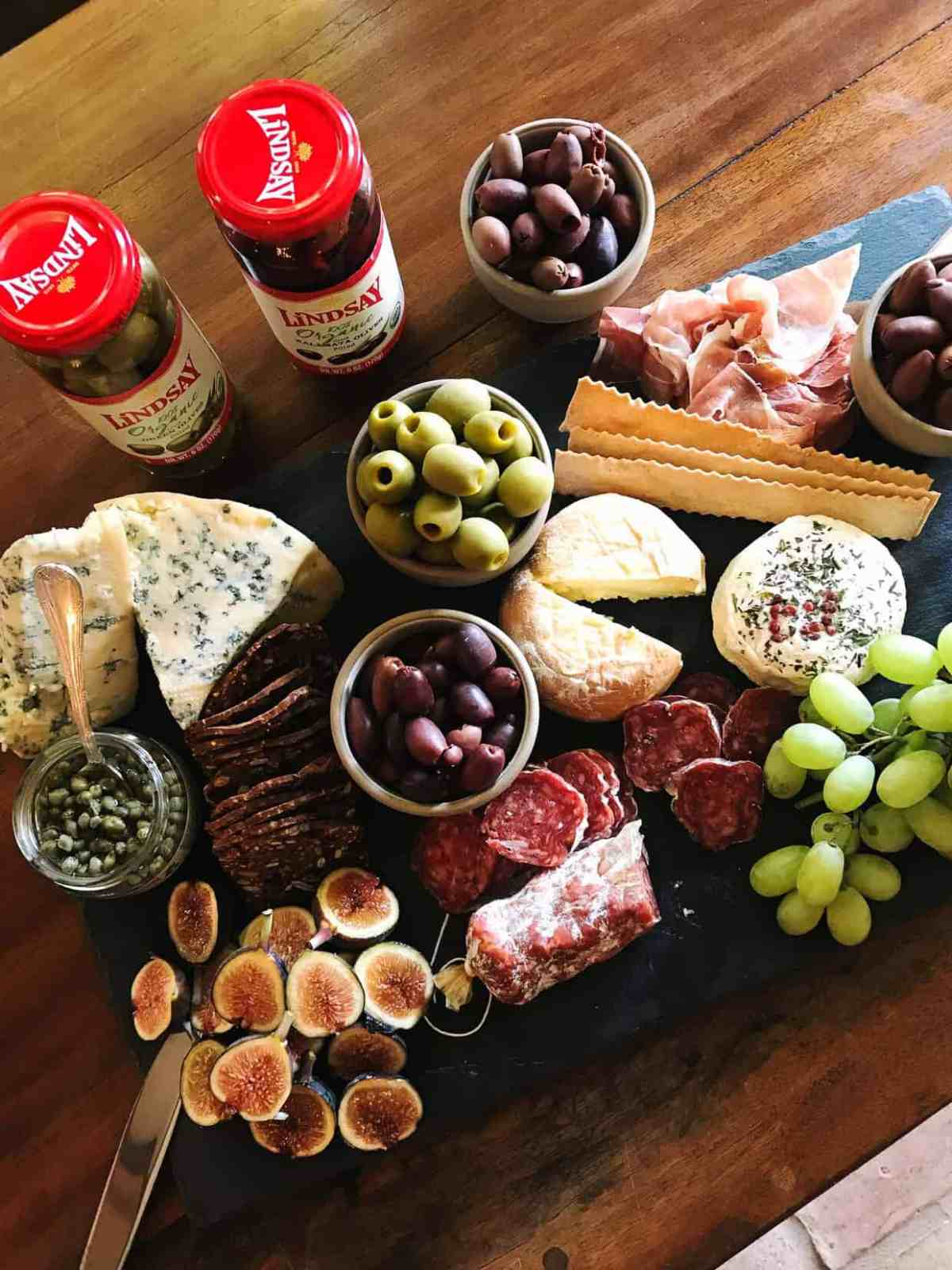 Charcuterie Board with Lindsay Olives.